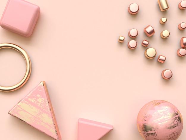 Or rose forme abstraite métallique plat poser décoration 3d rendu