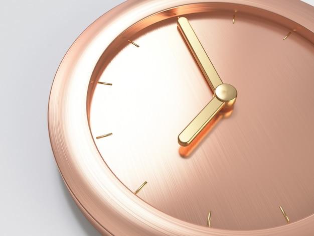 Or rose, horloge minimale métallique or rose, gros plan composition huit heures rendu abstrait 3d