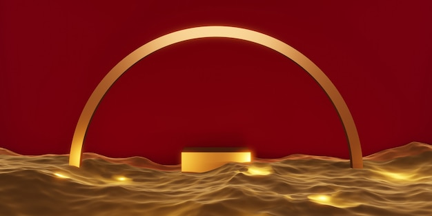 Or de la scène du podium du produit sur l'eau illustration 3d