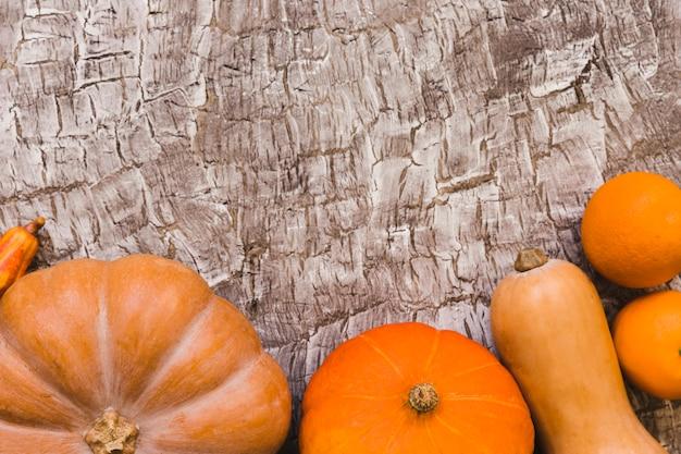 Oranges se trouvant près des courges