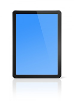 Ordinateur 3d, tablette numérique, isolé sur blanc avec un tracé de détourage