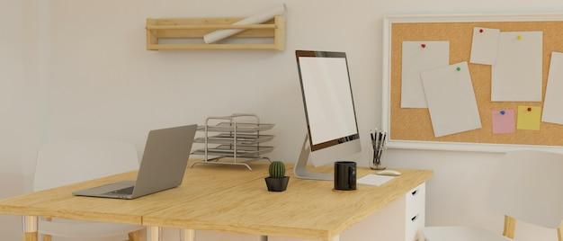 Ordinateur de bureau avec écran de maquette sur le bureau en bois avec papeterie et rendu 3d de l'appareil photo