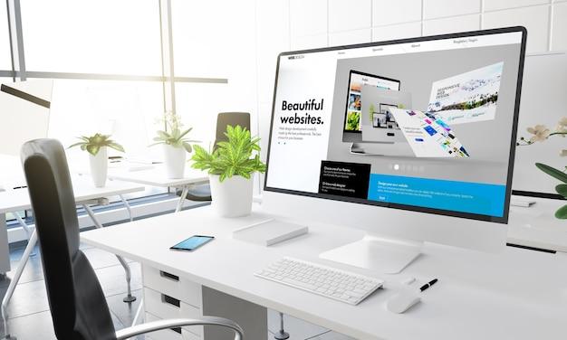 Ordinateur avec constructeur de site web au rendu 3d de bureau moderne