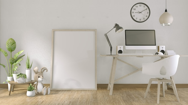 Ordinateur avec écran blanc et décoration de bureau. rendu 3d