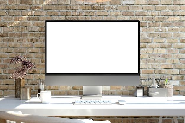 Ordinateur à écran blanc sur un rendu 3d de bureau