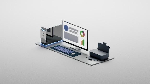 Ordinateur de l'espace de travail, clavier, souris, moniteur de lumière et fond clair isométrique de l'imprimante