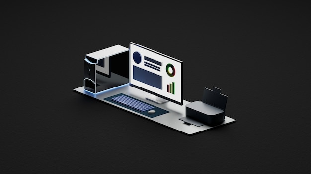 Ordinateur de l'espace de travail, clavier, souris, moniteur sombre et fond sombre isométrique de l'imprimante