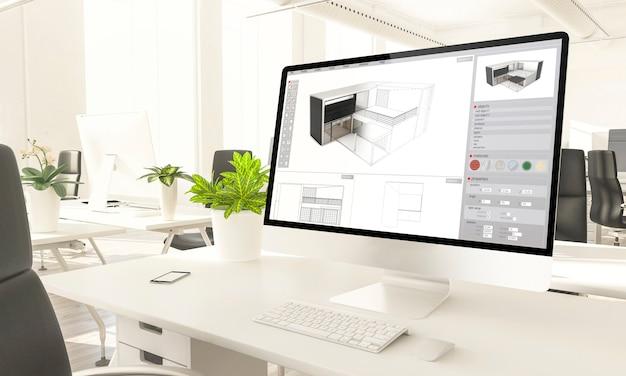 Ordinateur de maquette d'écran de logiciel d'architecture dans le rendu 3d de bureau loft