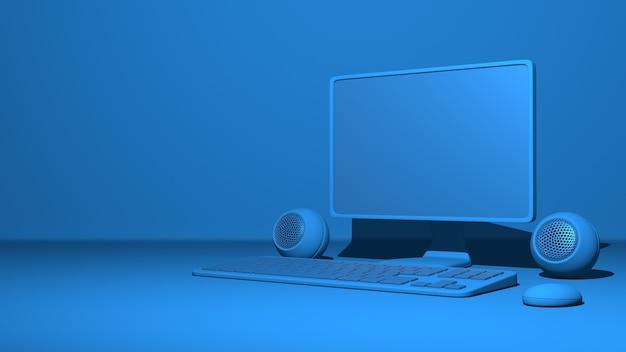 Ordinateur personnel, moniteur, clavier, souris, haut-parleurs. rendu 3d