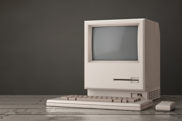 Ordinateur personnel rétro. l'unité centrale, le moniteur, le clavier et la souris sur une table en bois. rendu 3d