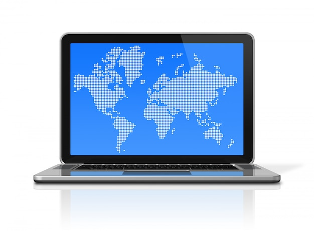 Ordinateur portable 3d avec carte du monde à l'écran