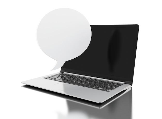 Ordinateur portable 3d avec discours bulle vide