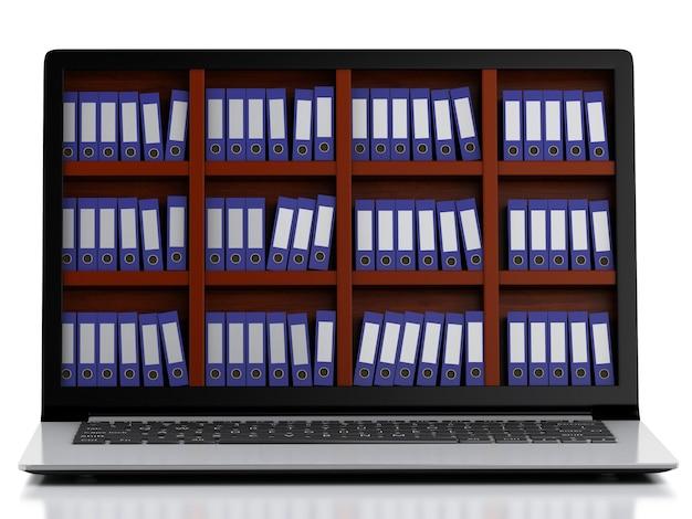 Ordinateur portable 3d et fichiers. fond blanc isolé