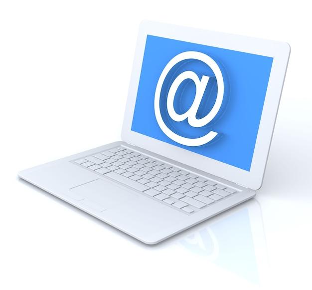 Ordinateur portable blanc 3d avec signe e-mail. le rendu.