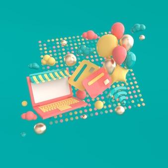 Ordinateur portable carte de crédit ballons wifi symbole nuages