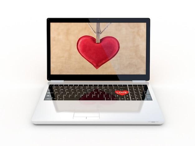 L'ordinateur portable avec cœur