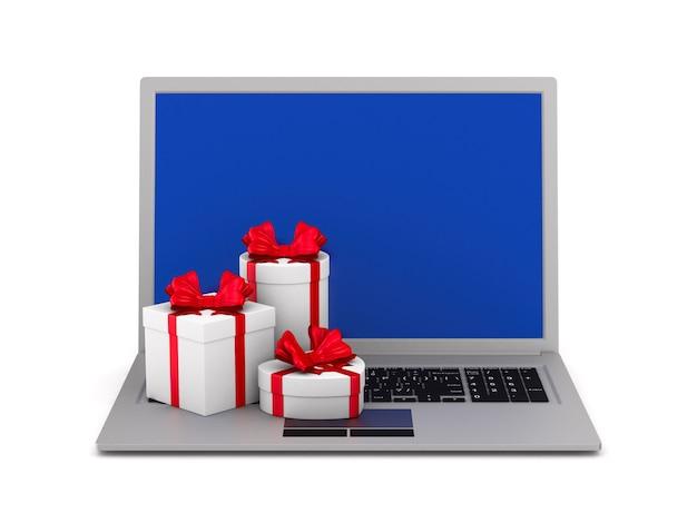 Ordinateur portable et coffrets cadeaux sur fond blanc. illustration 3d isolée