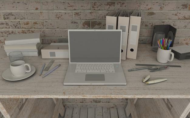 Ordinateur portable dans l'espace de travail maquette