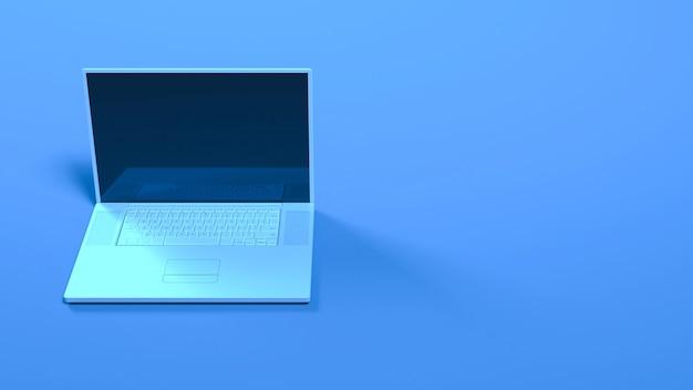 Ordinateur portable dans la lumière bleue au néon se bouchent, illustration 3d