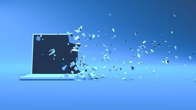 Ordinateur portable dans la lumière bleue s'effondrant en petites pièces, illustration 3d