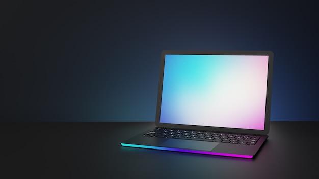 Ordinateur portable avec éclairage rose bleu et écran blanc sur fond sombre. image d'illustration 3d.