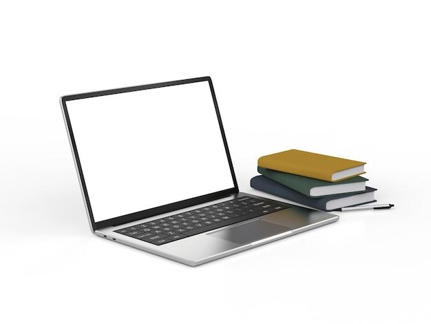 Ordinateur portable à écran blanc de rendu 3d avec pile de livres