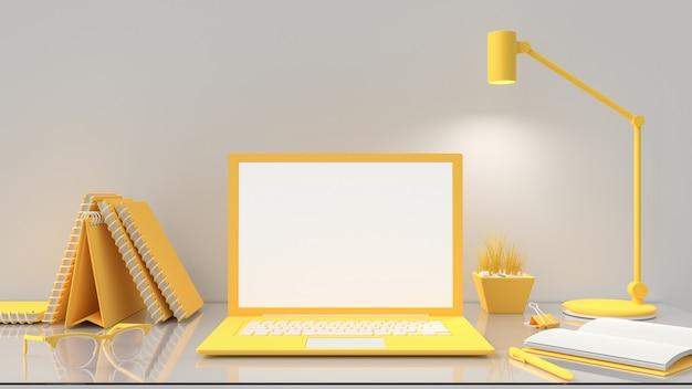 Ordinateur portable avec écran blanc sur table de travail, couleur jaune