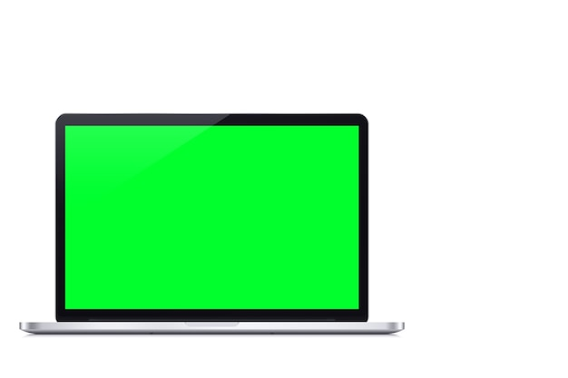 Ordinateur portable écran vert sur fond blanc. clé chroma.