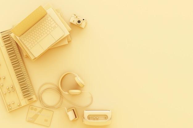 Ordinateur portable entouré de gadgets colorés sur le rendu 3d jaune