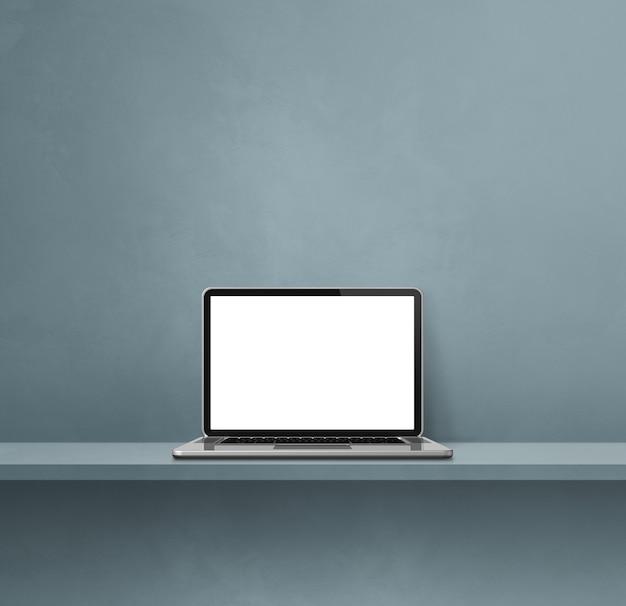 Ordinateur portable sur étagère grise. fond carré. illustration 3d