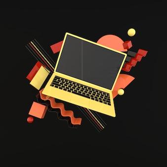 Ordinateur portable et fond de maquette de différents objets géométriques dans un style minimaliste moderne