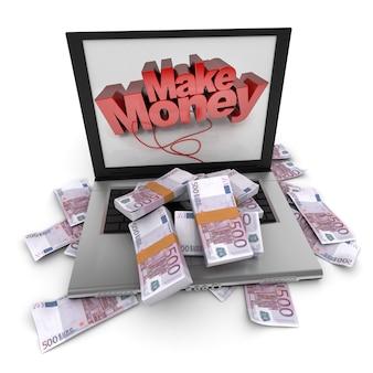 Un ordinateur portable avec gagner de l'argent écrit sur l'écran, avec la couverture du clavier en cinq cents billets en euros