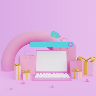 Ordinateur portable d'illustration 3d avec des coffrets cadeaux et une barre de recherche sur fond rose