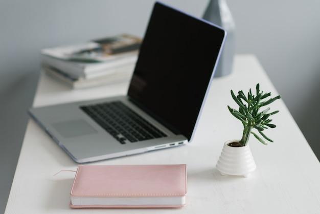 Un ordinateur portable, un journal rose et une plante d'intérieur, un lieu de travail