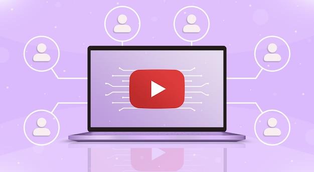 Ordinateur portable avec logo youtube à l'écran et icônes utilisateur autour de la 3d