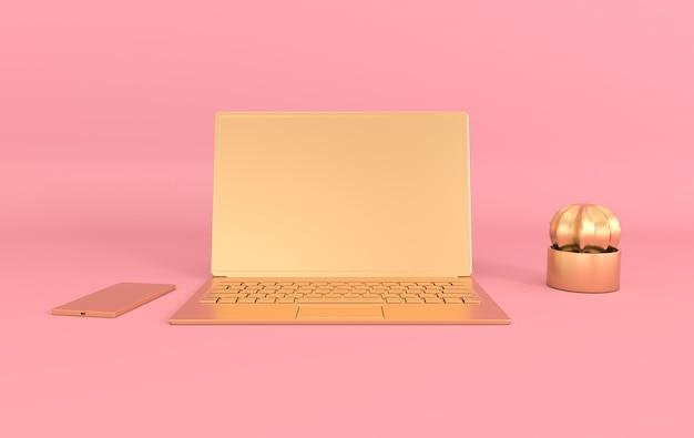 Ordinateur portable sur maquette de bureau. couleurs roses et dorées.