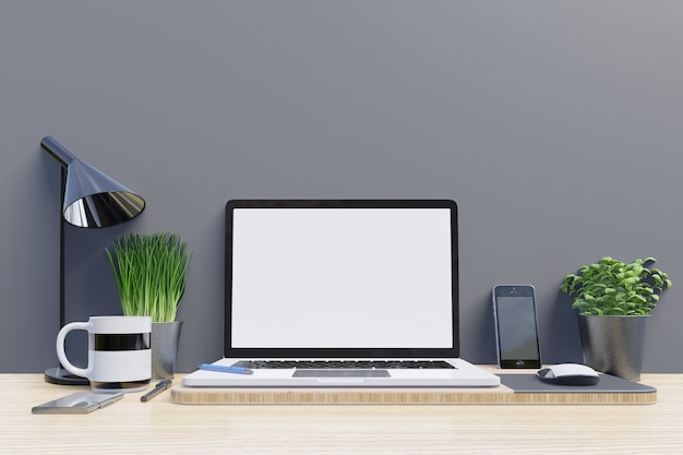 Ordinateur portable maquette sur le bureau