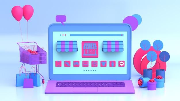 Ordinateur portable moderne avec des articles de marketing en ligne