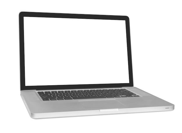 Ordinateur portable moderne isolé sur fond blanc.
