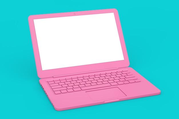 Ordinateur Portable Rose Moderne Avec écran Blanc Pour Votre Conception En Style Bichromie Sur Fond Bleu. Rendu 3d Photo Premium