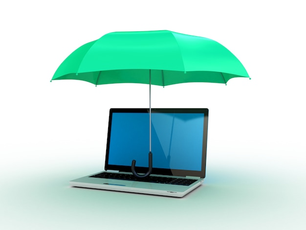 Ordinateur portable sous un parapluie vert. illustration 3d