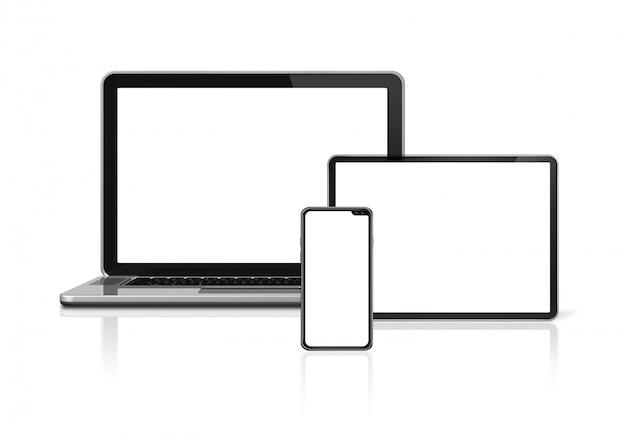 Ordinateur portable, tablette et téléphone isolé sur blanc.