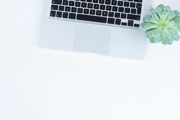 Ordinateur portable et téléphone sur table blanche avec style zen succulentes