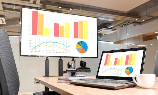 Ordinateur portable et télévision avec diaporama de présentation graphique dans la salle de réunion