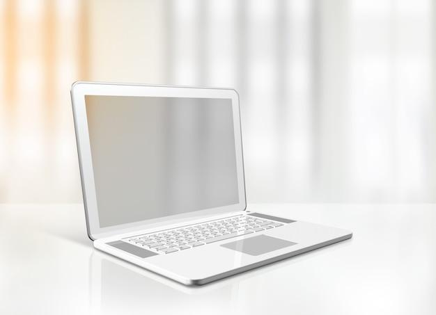 Ordinateur portable vide 3d isolé sur le bureau