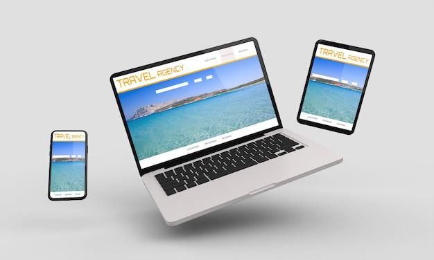 Ordinateur portable volant, mobile et tablette de rendu 3d montrant la conception web responsive senior de voyage.illustration 3d