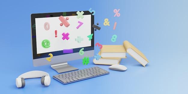 Ordinateur de rendu 3d avec souris et clavier et livre de mathématiques e-learning éducation en ligne concept copie espace fond