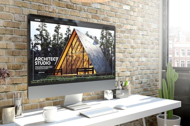 Ordinateur sur le site web d'architecture de rendu 3d de bureau