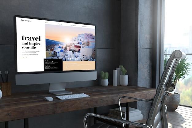 Ordinateur de site web de voyage sur le rendu 3d minimal de bureau