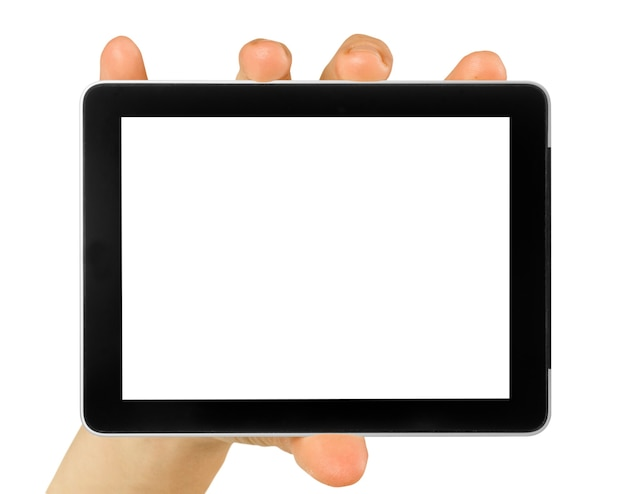 Ordinateur tablette isolé dans une main sur les fonds blancs
